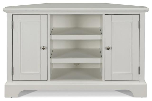 Naples Corner Tv Stand, White – Transitional – Entertainment Within Most Recent White Wood Corner Tv Stands (Image 17 of 20)