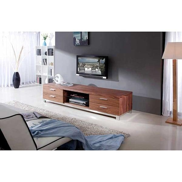 Natasha Light Walnut/ Stainless Steel Modern Tv Stand – Free For Most Recent Modern Walnut Tv Stands (View 6 of 20)