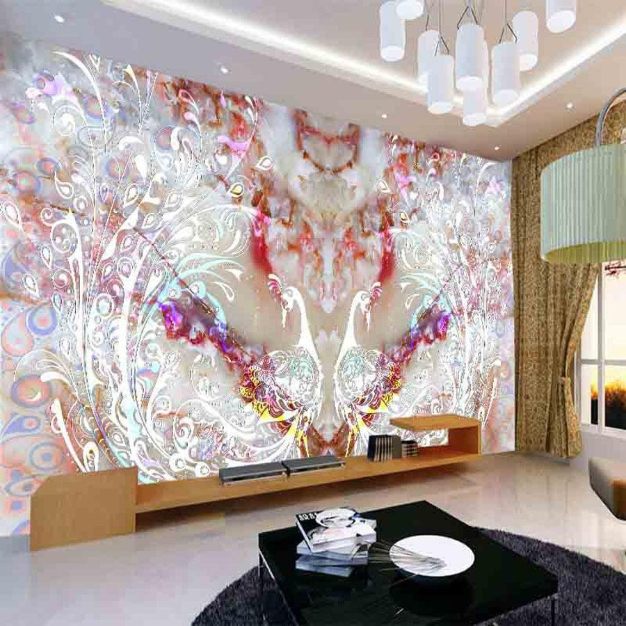 Nature & Animal Peacock Diy 3D Wallpaper Wall Mural Rolls Abstract In Abstract Art Wall Murals (View 5 of 20)