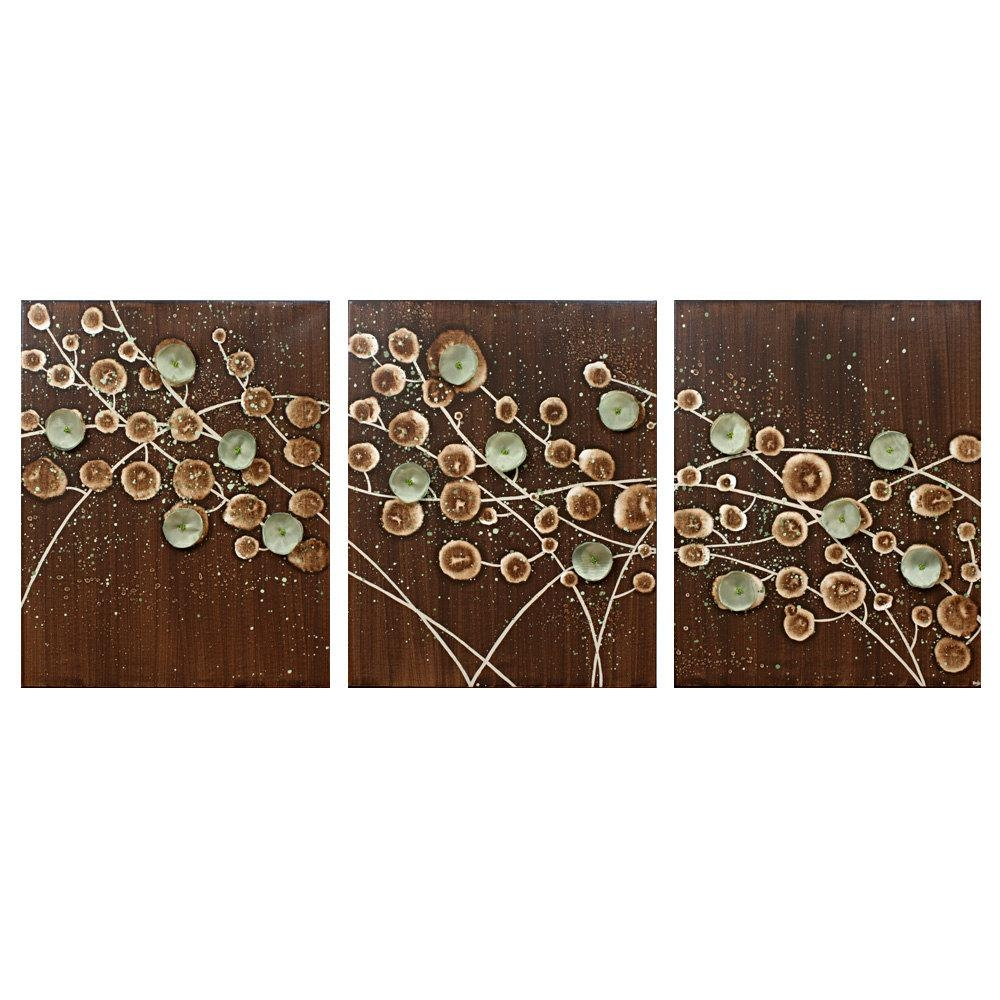 Nature Wall Art Abstract Canvas Art Large Triptych Painting Of Intended For Brown And Turquoise Wall Art (Image 8 of 20)