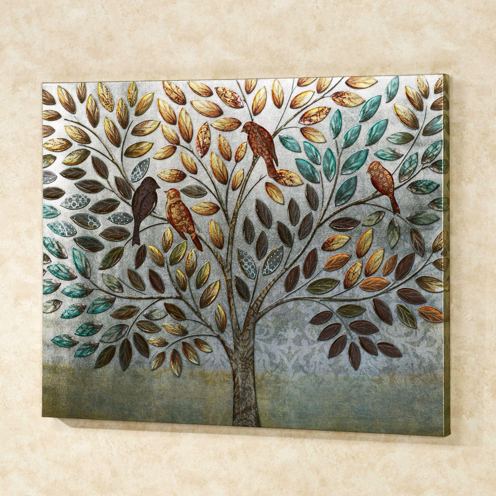 Natures Splendor Birds In Tree Canvas Wall Art Inside Teal And Brown Wall Art (View 14 of 20)