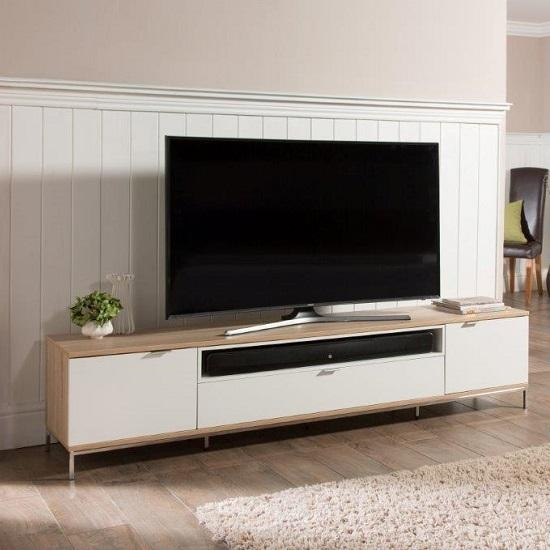 Nelson Wooden Tv Cabinet Large In White And Light Oak 26486 Intended For Most Recent Light Oak Tv Cabinets (View 3 of 20)