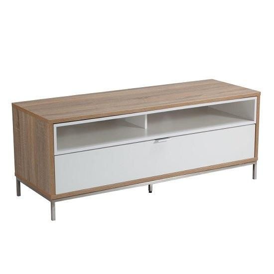 Nelson Wooden Tv Cabinet Small In White And Light Oak 26482 Inside Most Popular Light Oak Tv Cabinets (View 17 of 20)