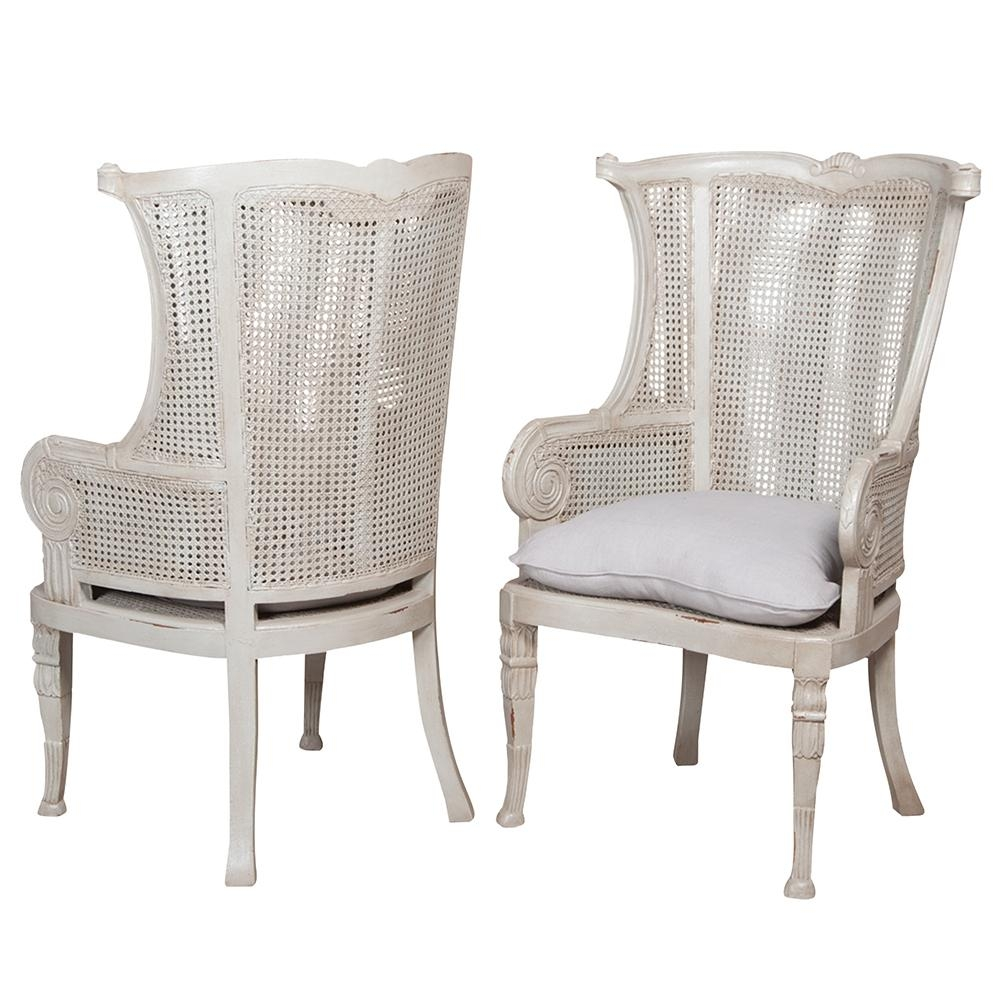 New Caned Wing Back Chair – White Washed Regarding White Cane Sofas (View 11 of 25)