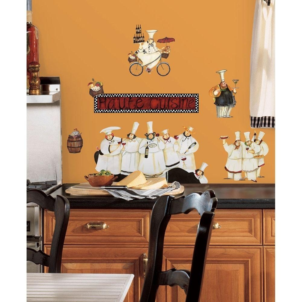 New Italian Fat Chefs Wall Decals Kitchen Chef Stickers Cooking Regarding Italian Cafe Wall Art (Image 10 of 20)