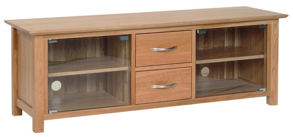 New Oak Large Tv Unit With Glass Doors | Furniture Wales Within 2018 Oak Tv Stands With Glass Doors (Image 13 of 20)