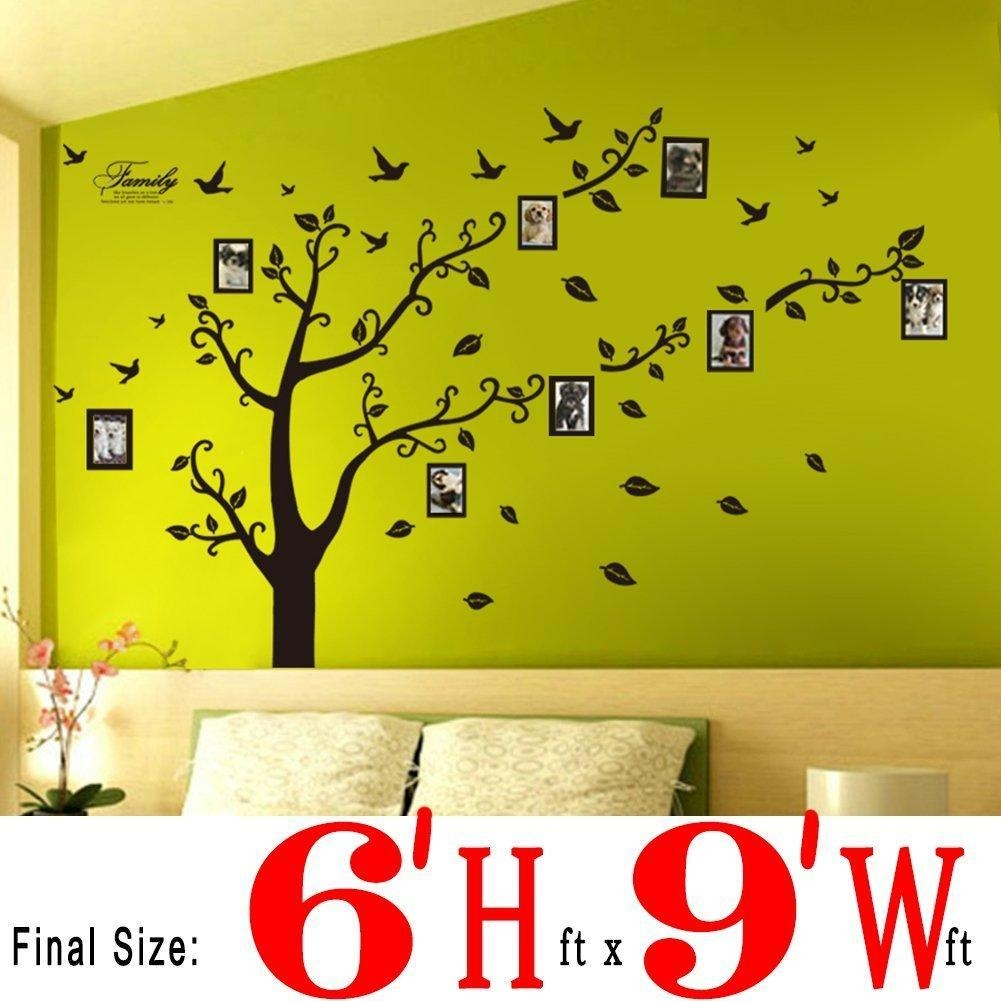 New Wall Stickers Wall Decals Trees Photo Frame Butterfly Birds Pertaining To Wall Art For Green Walls (View 2 of 20)