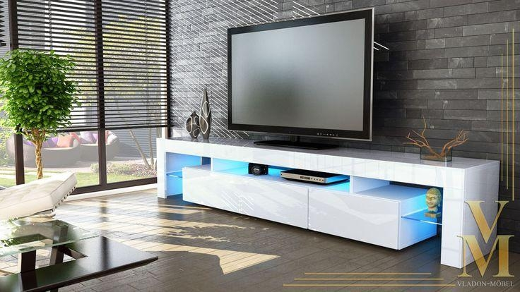 "New White High Gloss Tv Stand Media Entertainment Center ""lima V2 Pertaining To 2017 Tv Cabinet Gloss White (View 3 of 20)"