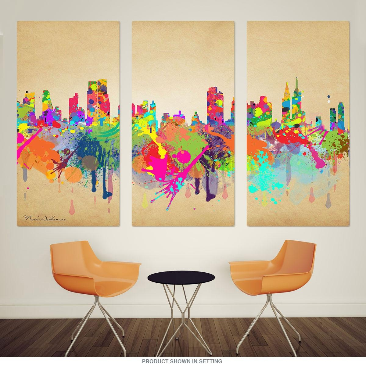 New York City Skyline Paint Splatter Triptych Metal Wall Art Pertaining To Metal Wall Art New York City Skyline (View 3 of 20)