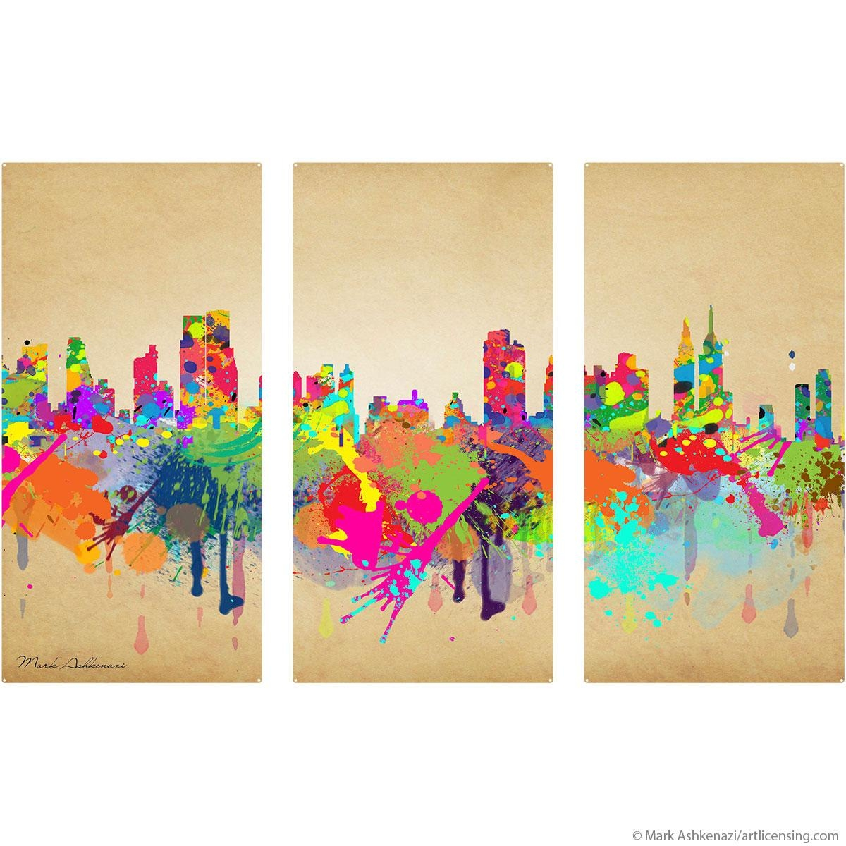 New York City Skyline Paint Splatter Triptych Metal Wall Art With Metal Wall Art New York City Skyline (Image 13 of 20)