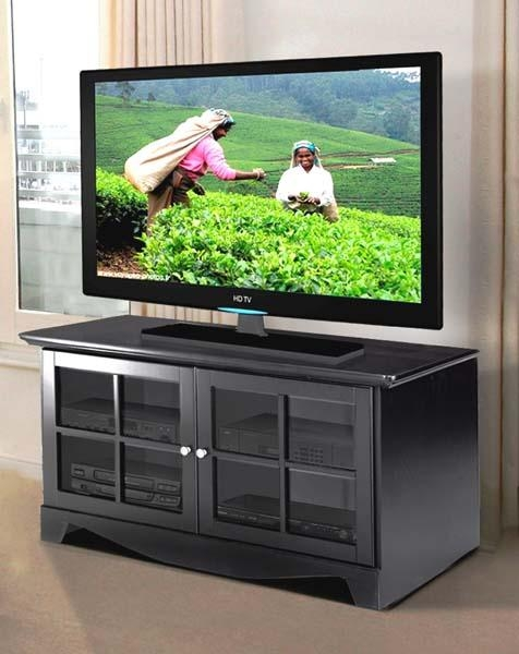 Nexera Pinnacle Series 52 Flat Panel Tv Stand With 2 Glass Doors With Regard To Recent Black Tv Stand With Glass Doors (Image 17 of 20)