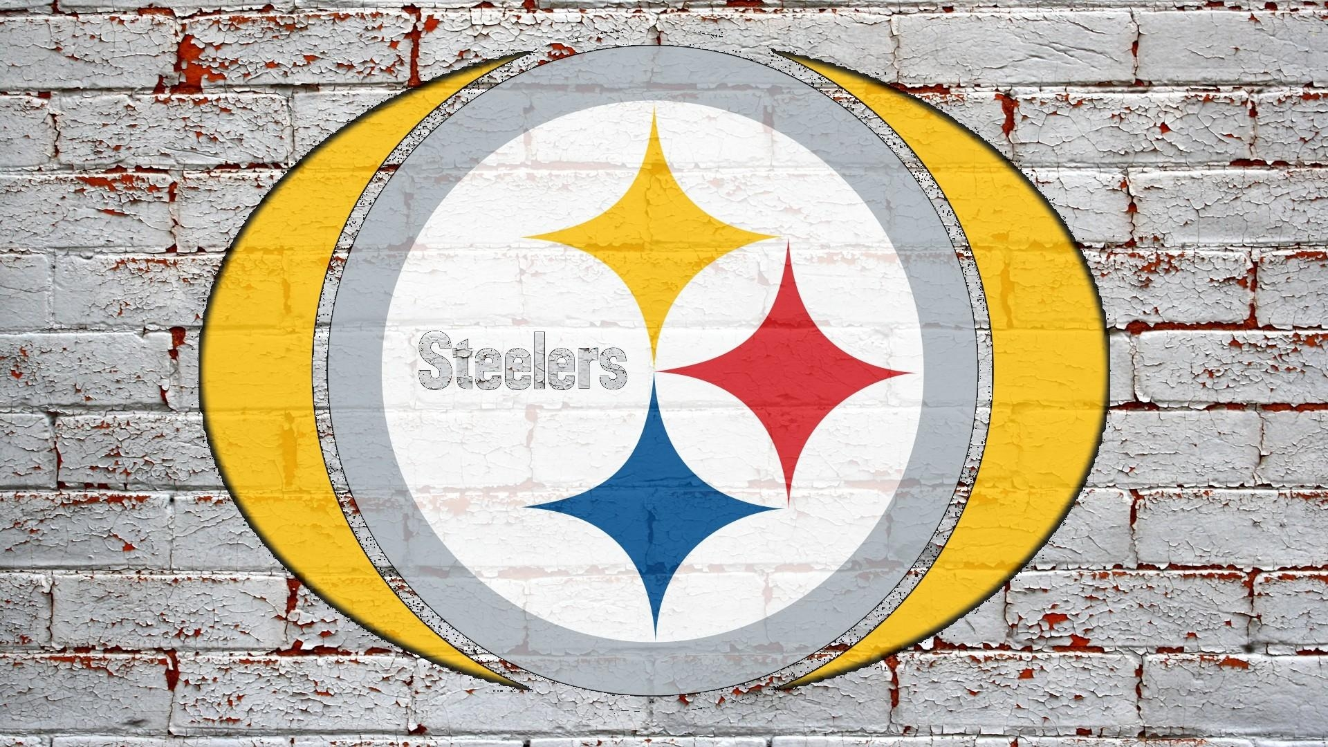 Nfl Pittsburgh Steelers Logo On Grey Brick Wall 1920X1080 Hd Nfl Pertaining To Steelers Wall Art (Image 10 of 20)