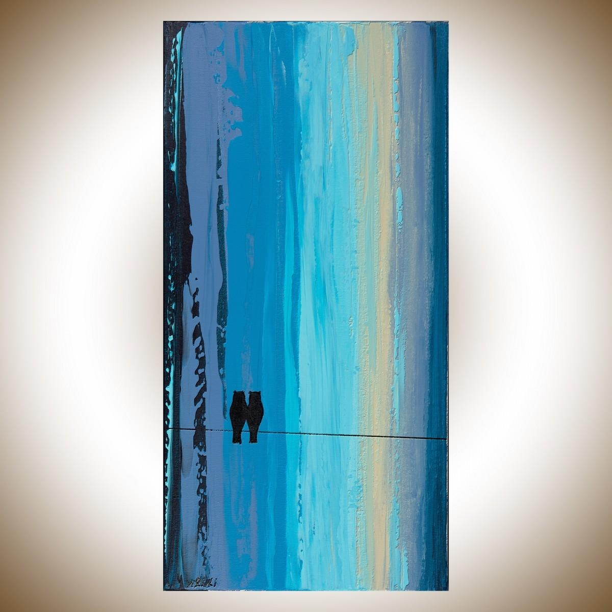 """Night Owlsqiqigallery 12"""" X 24"""" Owl Painting Teal Blue Black Regarding Black And Teal Wall Art (View 11 of 20)"""