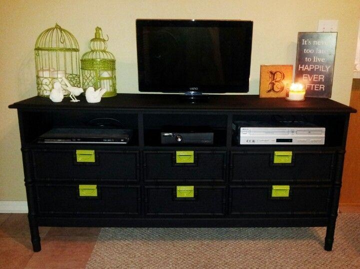 Nine Storage Drawers Strong Dovetail Smooth Painted Tv Stand Regarding Best And Newest Small Black Tv Cabinets (View 19 of 20)