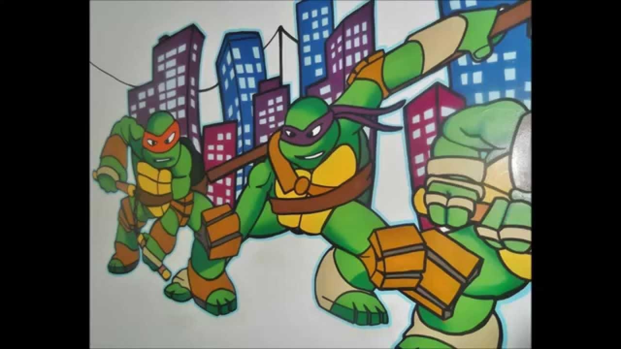 Ninja Turtle Mural Graffiti – Youtube Regarding Tmnt Wall Art (Image 8 of 20)