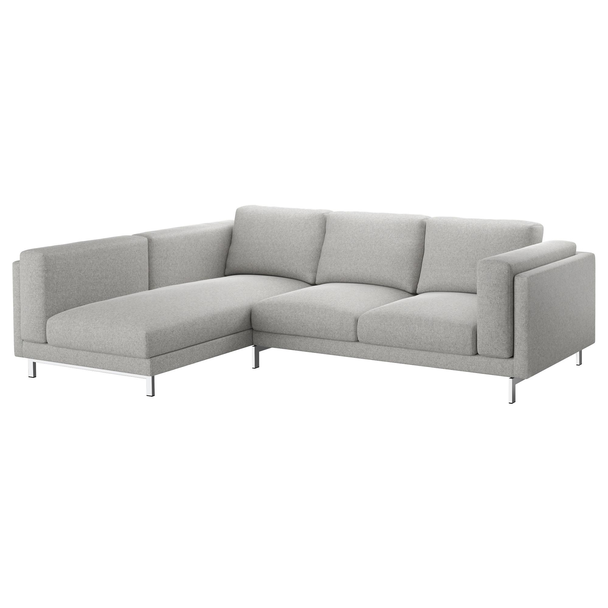 Nockeby 3 Seat Sofa With Chaise Longue, Left/tallmyra White/black With Regard To Ikea Chaise Lounge Sofa (View 8 of 20)