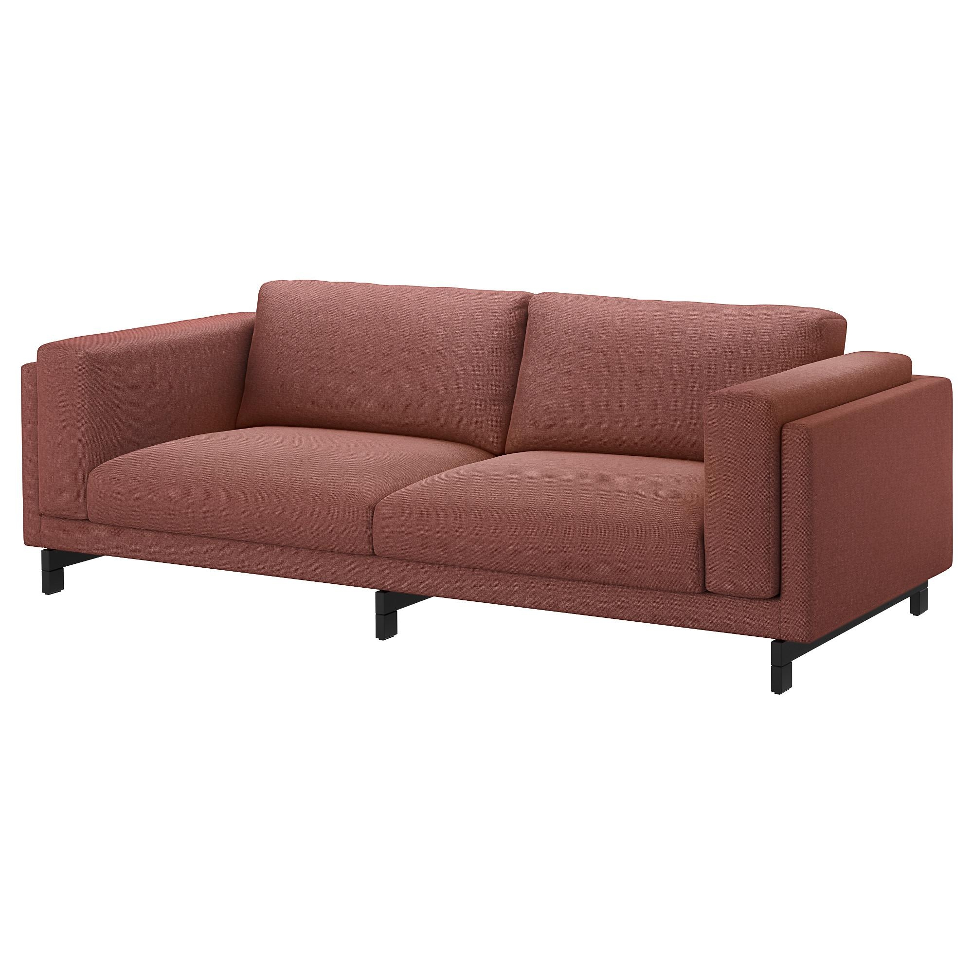 Nockeby Three Seat Sofa Tallmyra Rust/wood – Ikea Within Orange Ikea Sofas (View 8 of 20)