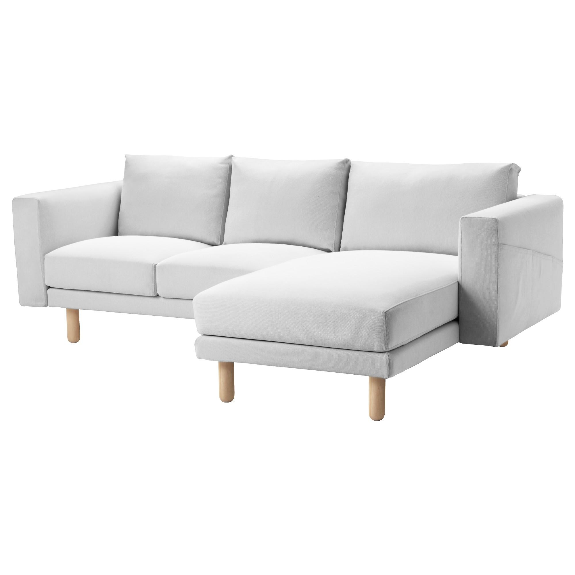 Norsborg 3 Seat Sofa With Chaise Longue/finnsta White/birch – Ikea With Ikea Chaise Lounge Sofa (Image 17 of 20)