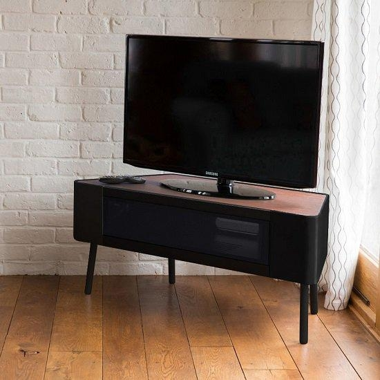 Norvik Corner Tv Stand In Walnut And Black Gloss With Glass Within Best And Newest Walnut And Black Gloss Tv Unit (Image 13 of 20)