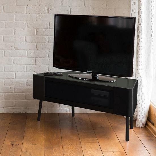 Norvik Tv Stand In Black High Gloss With Glass Door 29700 With Regard To 2017 Black High Gloss Corner Tv Unit (Image 10 of 20)