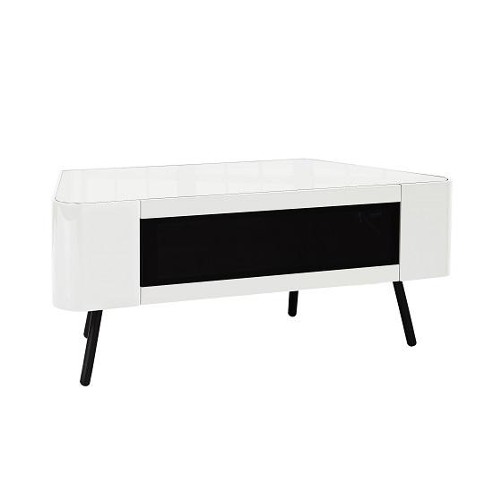 Norvik Tv Stand In White High Gloss With Glass Door 29701 Regarding 2017 White High Gloss Corner Tv Unit (View 5 of 20)
