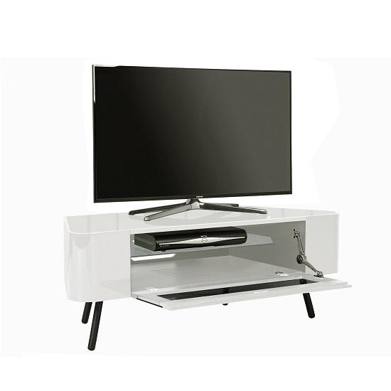 Norvik Tv Stand In White High Gloss With Glass Door 29701 Regarding Most Recently Released White Gloss Corner Tv Stand (View 4 of 20)