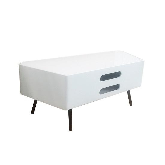Norvik Tv Stand In White High Gloss With Glass Door 29701 With Regard To Best And Newest Corner Tv Unit White Gloss (View 4 of 20)