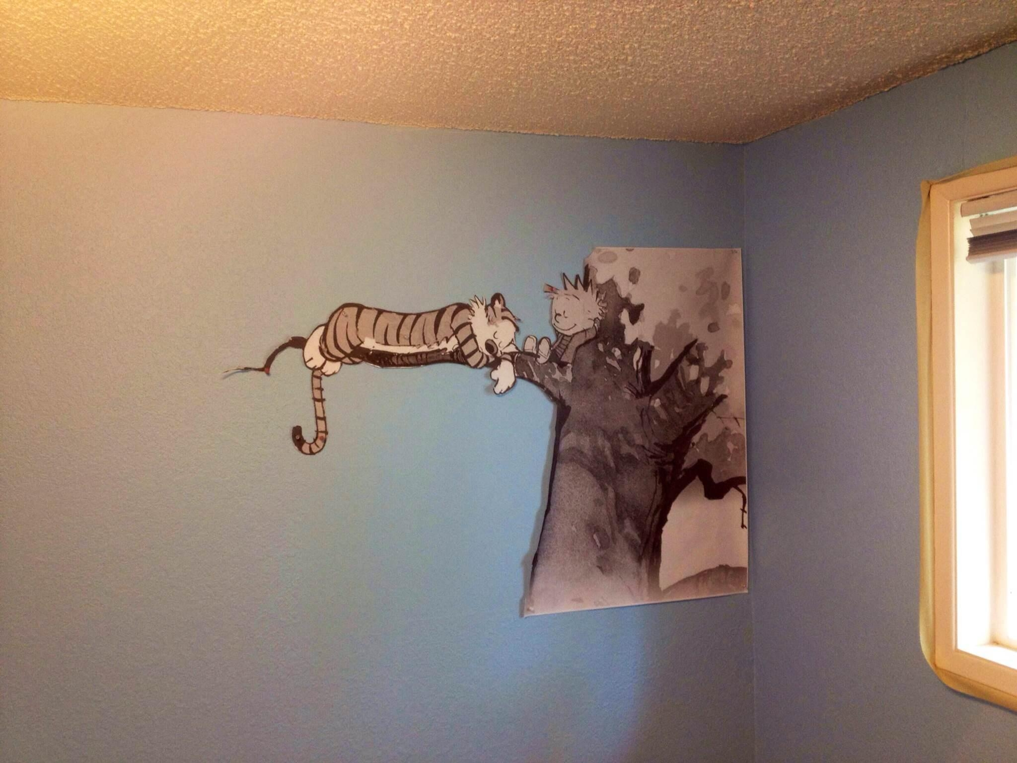 Not An Original Idea, But Here's Our Calvin And Hobbes Mural For Regarding Calvin And Hobbes Wall Art (Image 17 of 20)