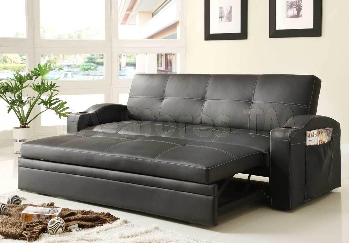 Novak Black Leather Sofa Bed With Pull Out Trundle | Sofa Beds He In Sofa Lounger Beds (Image 16 of 20)
