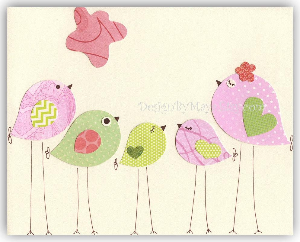 Nursery Bird Decor Baby Girl Tweet Bird Art Decor Love For Feminine Wall Art (View 16 of 20)