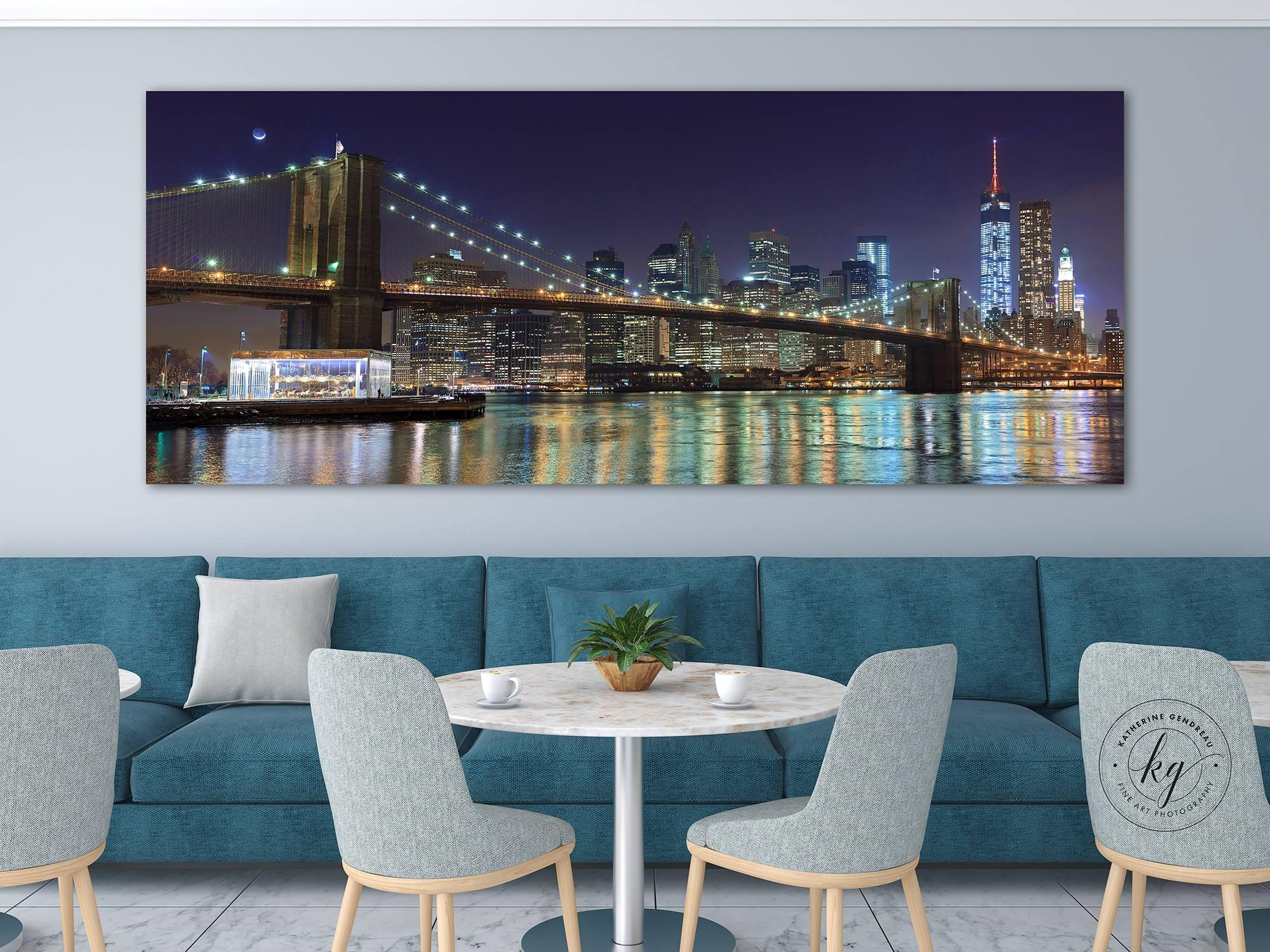 Nyc Panorama Photo Metal Print Brooklyn Bridge New York City Regarding Metal Wall Art New York City Skyline (View 19 of 20)