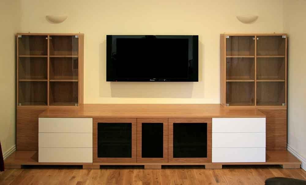 Oak Av Furniture, Oak Av Cabinets, Oak Tv Stands, Oak Media Wall With 2017 Bespoke Tv Cabinets (Image 18 of 20)