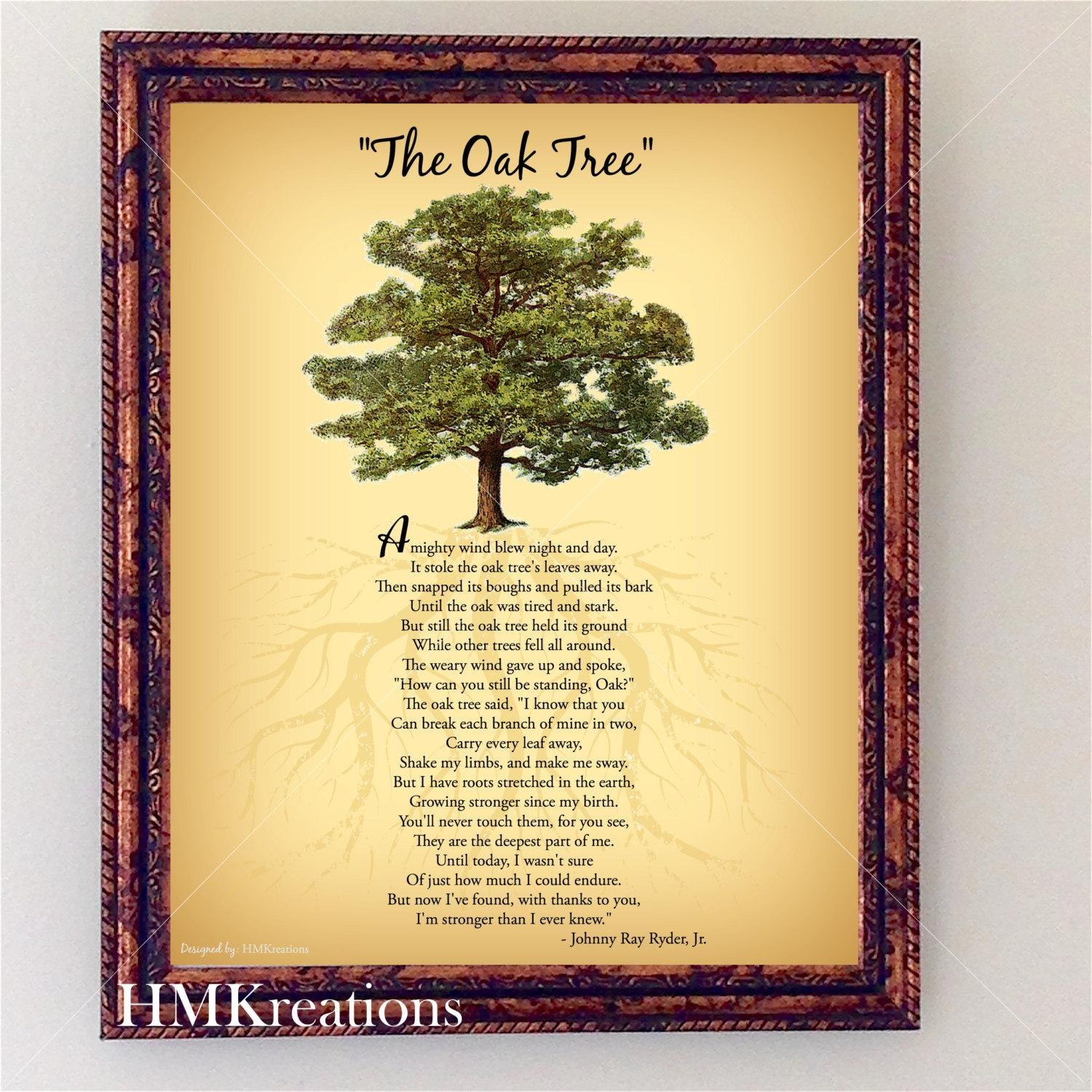 Oak Tree Poem Encouraging Tree Poem Quote Nature Wall Art Throughout Live Oak Tree Wall Art (Image 19 of 20)