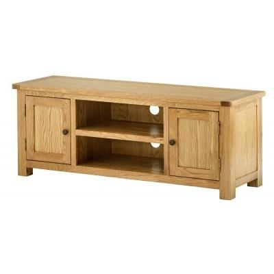 Oak Tv Stand | Solid Oak Tv Unit Cabinet | Furniture Plus inside Recent Chunky Oak Tv Unit