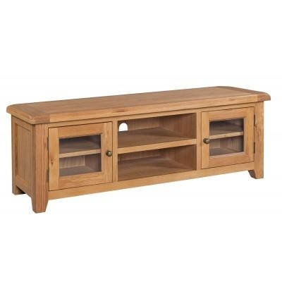 Oak Tv Stand | Solid Oak Tv Unit Cabinet | Furniture Plus With Current Chunky Oak Tv Unit (View 14 of 20)