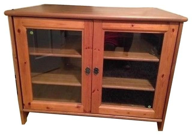 Oak Tv Stand With Glass Doors (View 16 of 20)
