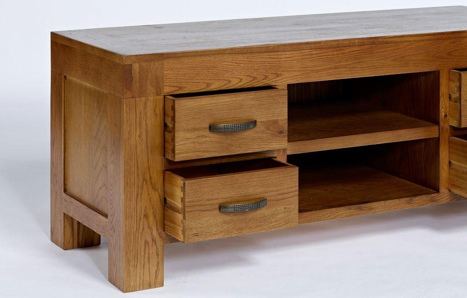 Oak Tv Unit With Drawers – Santana With Best And Newest Santana Oak Tv Furniture (Image 16 of 20)