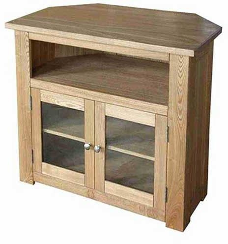 Oak Tv/video Corner Unit With Regard To Current Corner Tv Cabinets With Glass Doors (Image 15 of 20)