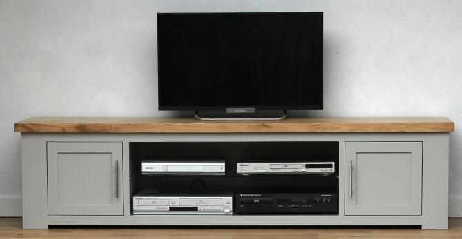 Oak Wide Grey Painted Tv Cabinet  (Image 14 of 20)