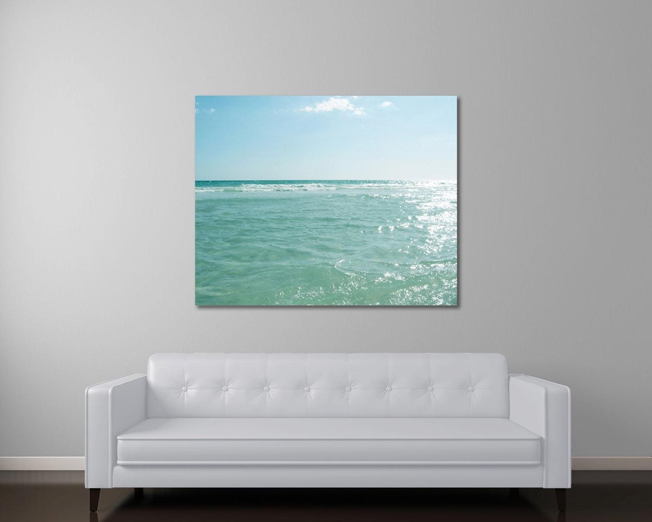 Ocean Canvas Art Seascape Photography Beach Art Mint Green Pertaining To Teal And Green Wall Art (Image 15 of 20)