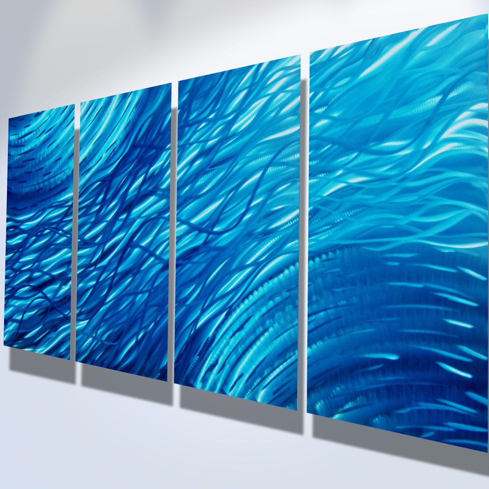 Ocean  Metal Wall Art Abstract Contemporary Modern Decor Throughout Teal Metal Wall Art (Image 8 of 20)