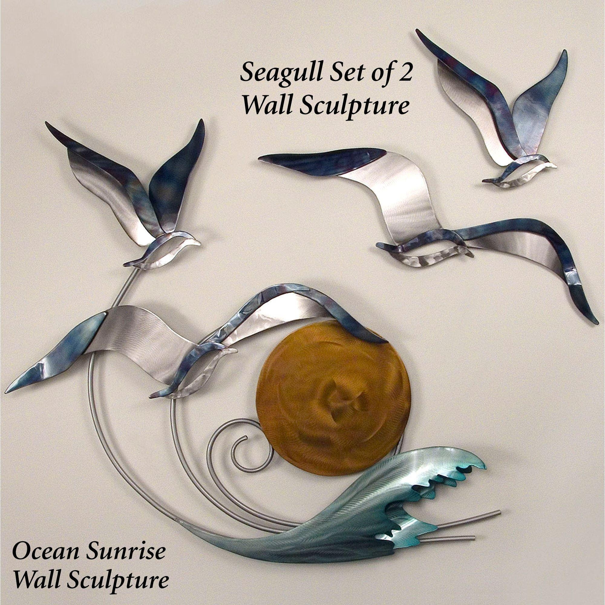 Ocean Sunrise Indoor Outdoor Metal Wall Sculpture Pertaining To Seagull Metal Wall Art (View 14 of 20)