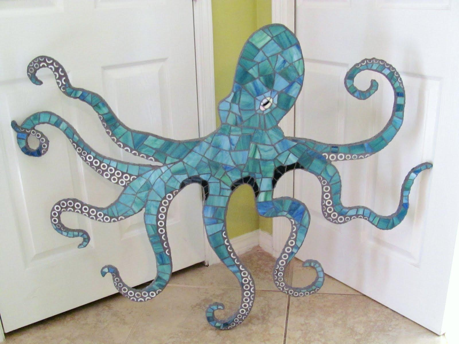 Octopus Mosaic Wall Art, Large 4 Ft Stained Glass Mosaic Octopus In Octopus Tentacle Wall Art (Image 11 of 20)