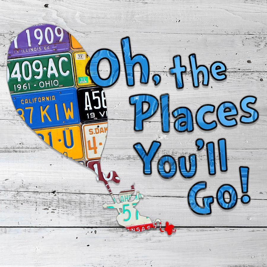 Oh The Places Youll Go Dr Seuss Inspired Recycled Vintage License  Throughout Dr Seuss Canvas Wall