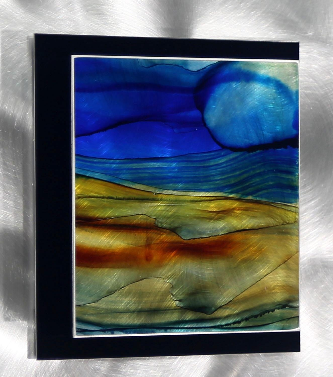 Oj 534Jon Allen – Modern One Of A Kind Blue, Green & Brown Intended For Blue And Brown Wall Art (View 9 of 20)