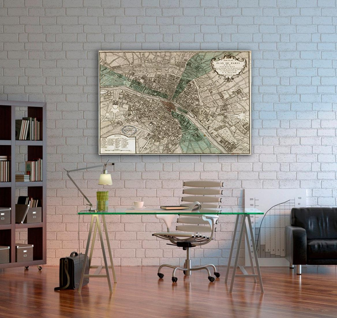 Old Map Of Paris (1740) Paris Map In 5 Sizes Up To 42X53 In Map Of Paris Wall Art (Image 9 of 20)