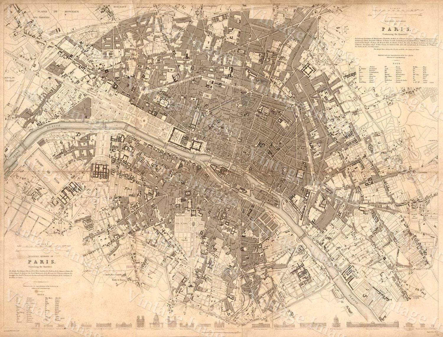 Old Paris Map 1834 Giant Restoration Hardware Style Map Paris For Map Of Paris Wall Art (Image 10 of 20)