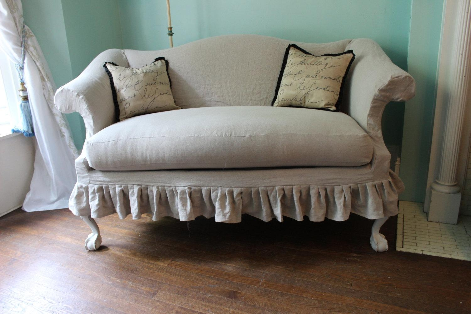 Old Reclining Loveseat Slipcover With White Color 2 Cushions And Intended For Sofa Loveseat Slipcovers (Image 21 of 25)