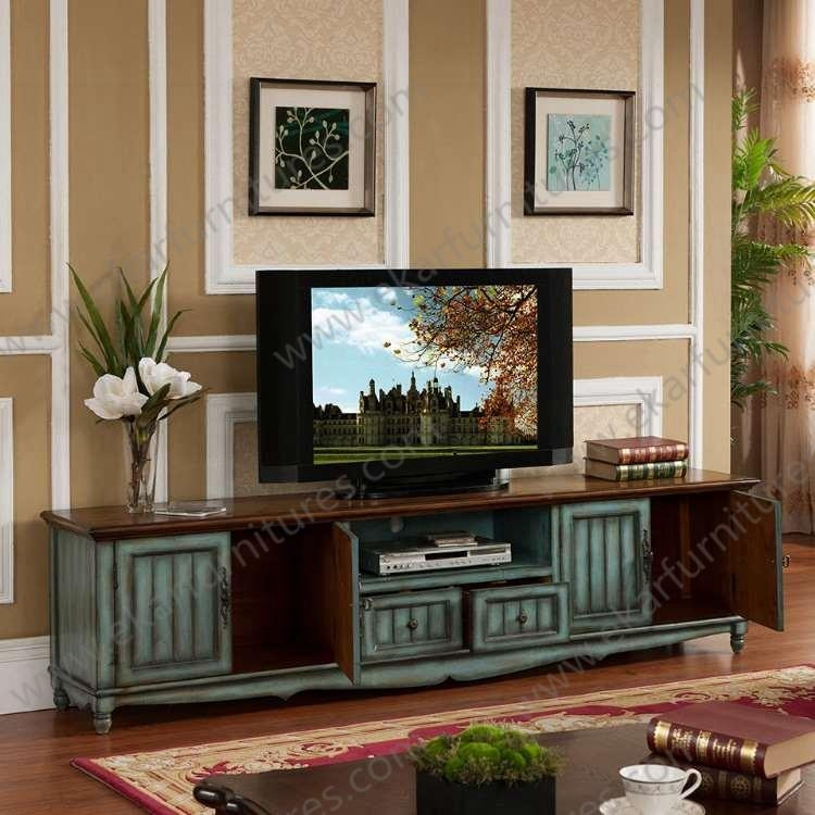 Old Style Vintage Long Seafoam Green Tv Stand M 1040 With Regard To Most Current Green Tv Stands (Image 15 of 20)