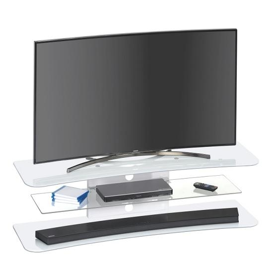 Olivia Tv Stand Rectangular In White Glass 30962 Furniture Pertaining To Most Recently Released Comet Tv Stands (View 12 of 20)